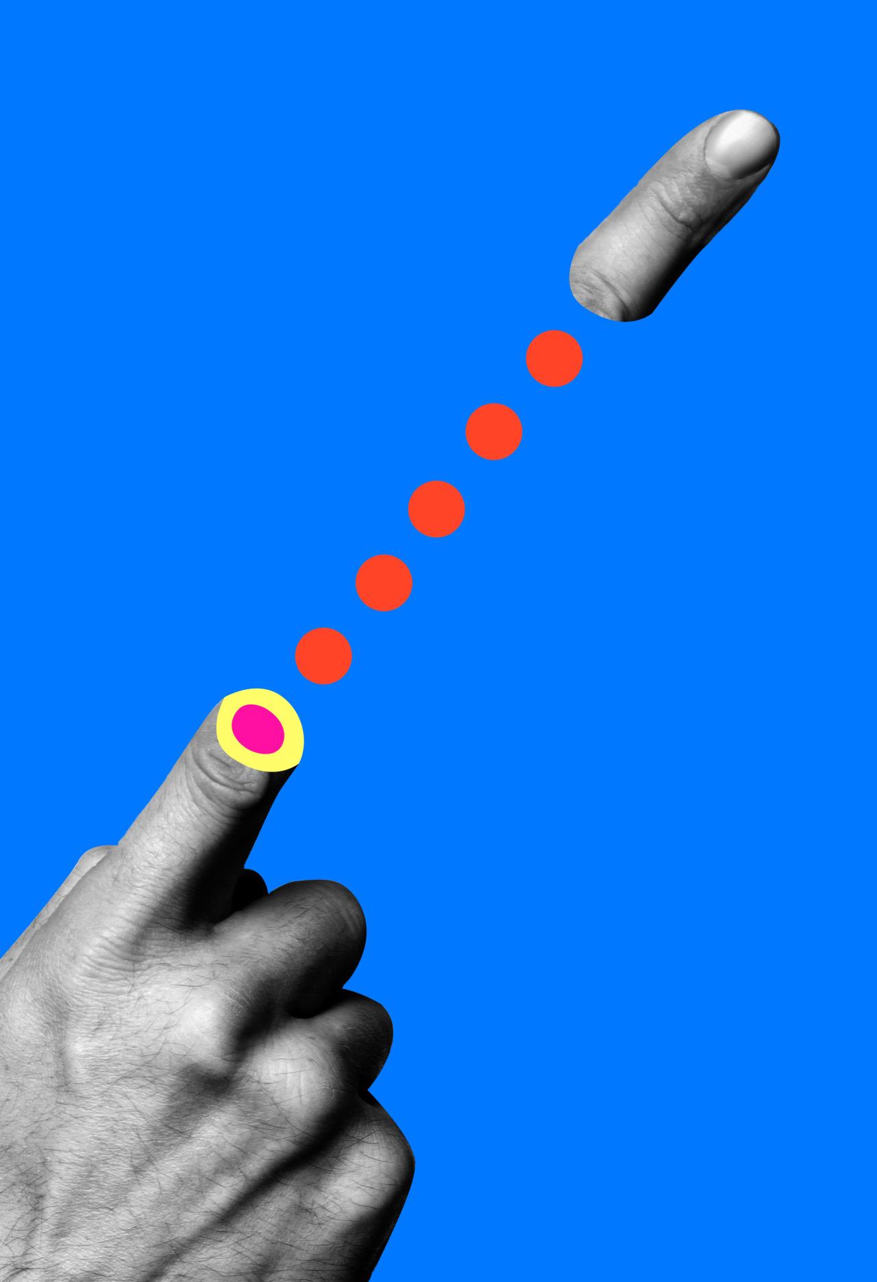 Dedo apuntando con puntos rojos